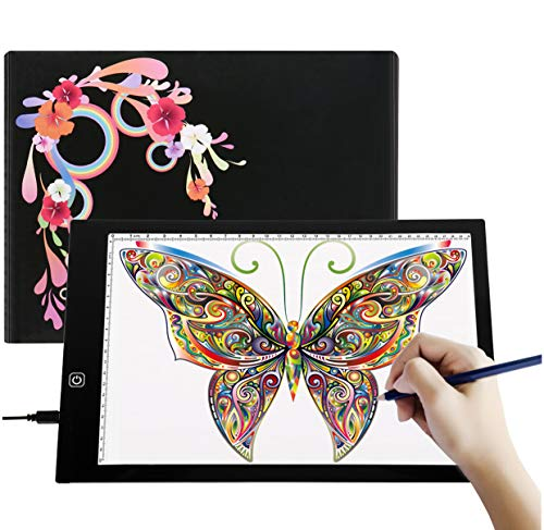 A4 Ultra-Thin Portable LED Light Box Tracer USB Power Cable Dimmable Brightness Artcraft Tracing Light Pad Light Box Art Supplies Arts and Crafts for Girls Boys Kids Gift Set Tracing,Black by Tikteck