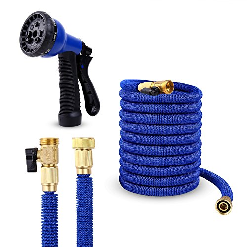 Ohuhu 50 FT Garden Hose Expandable Hoses, 2018 Upgraded NEW Lightweight Strong Water Hose, Flexible Garden Hose BONUS 8-Pattern Spray Nozzle, Blue