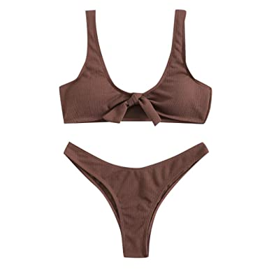 87740e6e0f41f Women s Two Piece Solid Bikini Scoop Neck Tie Knot High Waisted Triangle  Swimsuits Bathing Set (