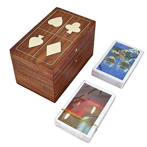 Handmade Indian Wooden Double Playing Card Storage Box-Unique Gifts for Adults - Handmade Wooden Boxes