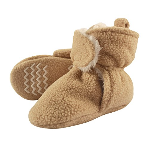 (Hudson Baby Baby Cozy Sherpa Booties with Non Skid Bottom, Tan, 18-24 Months)