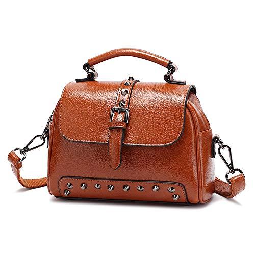 Women PU Leather Hobo Bag Vintage Boston Waterproof Bags Fashion Sling Brown Rivet Shoulder Bag for Ladies