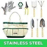 GardenHOME 9 Piece Garden Tool Set with 7 Ergonomic Gardening Tools Set, Sizable Garden Tote Bag and 1 pair Gloves