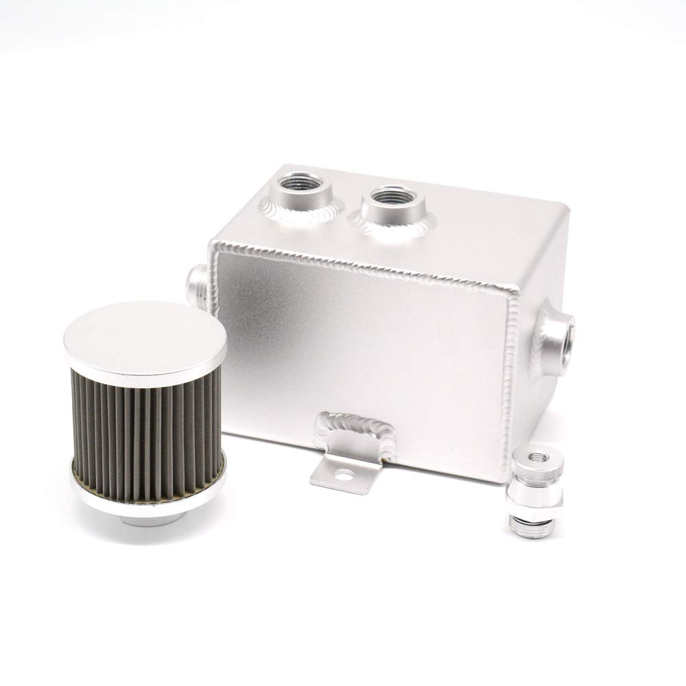 Tasan Racing Aluminum Oil Catch Can/Baffled Reservoir Tank Breather & Drain Tap 2L Silver