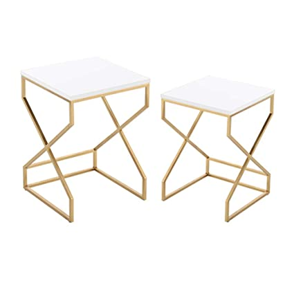 Outstanding Amazon Com Haizhen Coffee Table Set Of 2 Nesting Tables Inzonedesignstudio Interior Chair Design Inzonedesignstudiocom