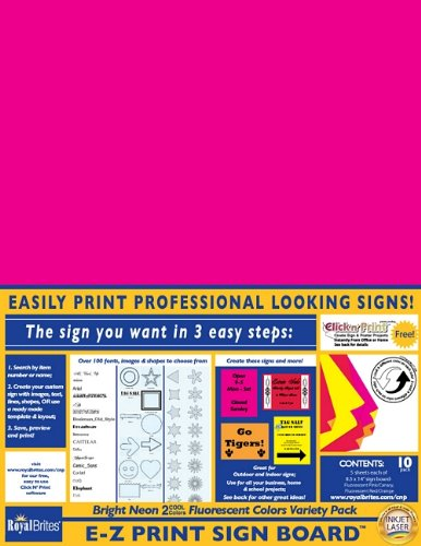 EZ Print Sign Board 2 Cool Neon Assorted Colors, 8.5