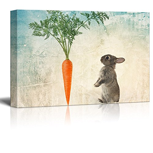 Canvas Rabbit Frame (wall26 - Canvas Print Wall Art - Rabbit and a Big Carrot on Rustic Background - Gallery Wrap Modern Home Decor | Ready to Hang - 24x36 inches)