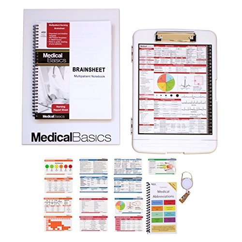 Nursing Gift Box - The Perfect Gift for Nurses, Great for Graduation - Brain Sheet, Clipboard, Medical Reference Sheet Cards - Scrubnotes by Medical Basics