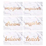 Decorative File Folders - 12-Count Colored File Folders Letter Size, 1/3-Cut Tabs, Cute Marble Designs with Inspirational Rose Gold Foil Text, Office Supplies File Filing Organizer, 9.5 x 11.5 Inches