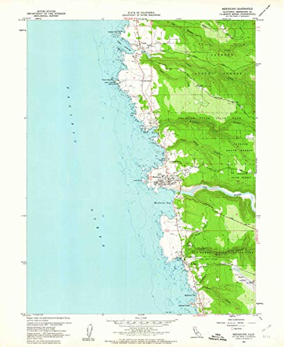 YellowMaps Mendocino CA topo map, 1:24000 Scale, 7.5 X 7.5 Minute, Historical, 1960, Updated 1962, 26.9 x 22 in - Paper