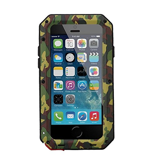 iPhone 8 Plus Case iPhone 7 Plus Case, CarterLily Full Body Shockproof Dustproof Waterproof Aluminum Alloy Metal Gorilla Glass Cover Case for Apple iPhone 7 8 Plus 5.5 inch (Camouflage.)