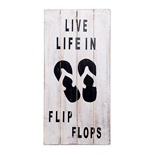NOVICA White Wood Whimsical Beach Sign, 'Live Life in Flip Flops'