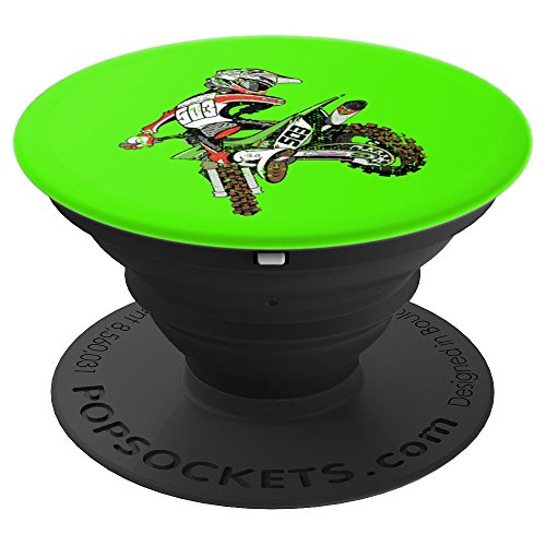 Dirt Bike Rider (Neon Green) Motocross - PopSockets Grip and Stand for Phones and (Goggles Pop)