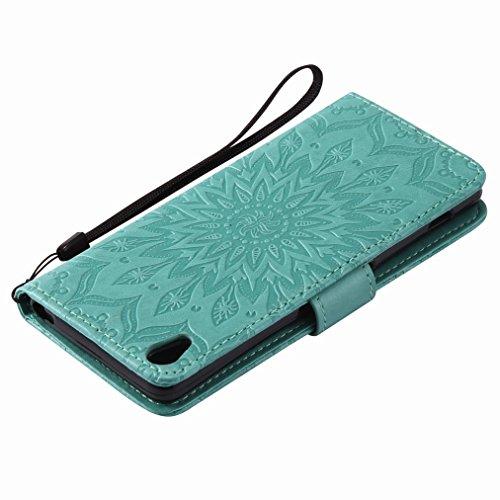 Yiizy Sony Xperia XA Custodia Cover, Sole Petali Design Sottile Flip Portafoglio PU Pelle Cuoio Copertura Shell Case Slot Schede Cavalletto Stile Libro Bumper Protettivo Borsa (Verde)