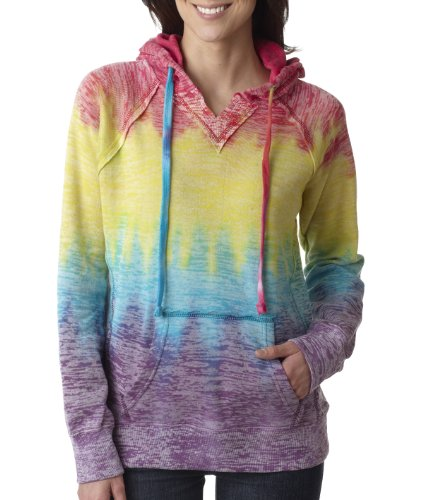 MV Sport Women's Courtney Burnout Hooded Pullover Blend Fleece (Rainbow Swirl) (Medium)