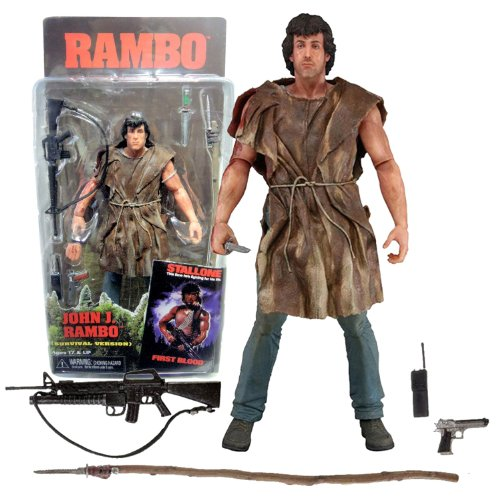 NECA Rambo First Blood Year 1982 Movie Series 7 Inch Tall Action Figure - Survival Version JOHN J. RAMBO with Alternative Right Hand, Spear, Assault Rifle, Gun, Walkie Talkie Radio and Commando Knife