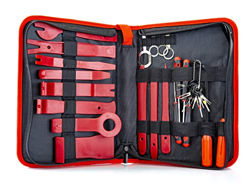Fstop Labs 32 Pieces Auto Upholstery Trim and Molding Removal Tool Kit, Car Dash Panel Removal and Install Kit with Storage ()