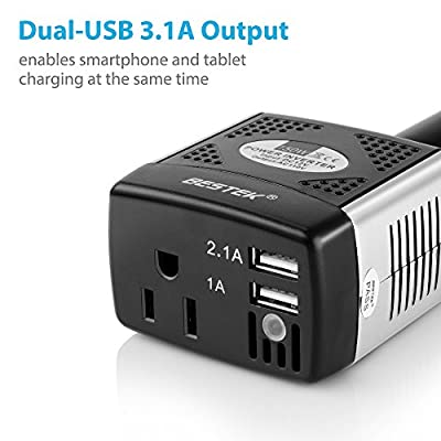 BESTEK 150W Power Inverter 12V to 110V Voltage Converter Car Charger Power Adapter with 2 USB Charging Ports (3.1A Shared): Electronics