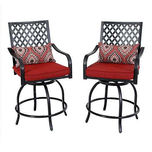 PHI VILLA Outdoor Extra Wide Height Swivel Bar Stools Arms Chairs 2 Pack