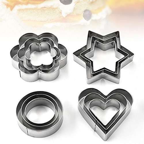 Valentines Day Cookie Biscuit Stainless Steel Cutter 12packs - Flower Star Heart Circle Shape Model for Kids/Party/Holiday by (Valentine Cookie Cutter)