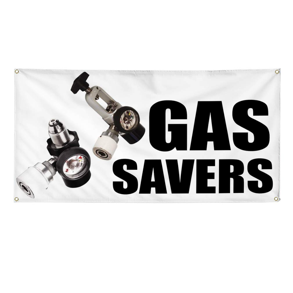 Multiple Sizes Available Vinyl Banner Sign Gas Savers Business Gas Savers Outdoor Marketing Advertising Navy 32inx80in Set of 2 6 Grommets