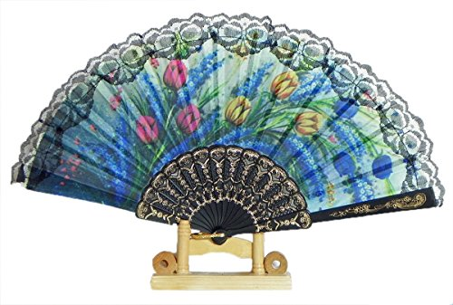 (DollsofIndia Multicolor Floral Print on Silk Folding Fan with Stand - 9.5 inches (OF33))
