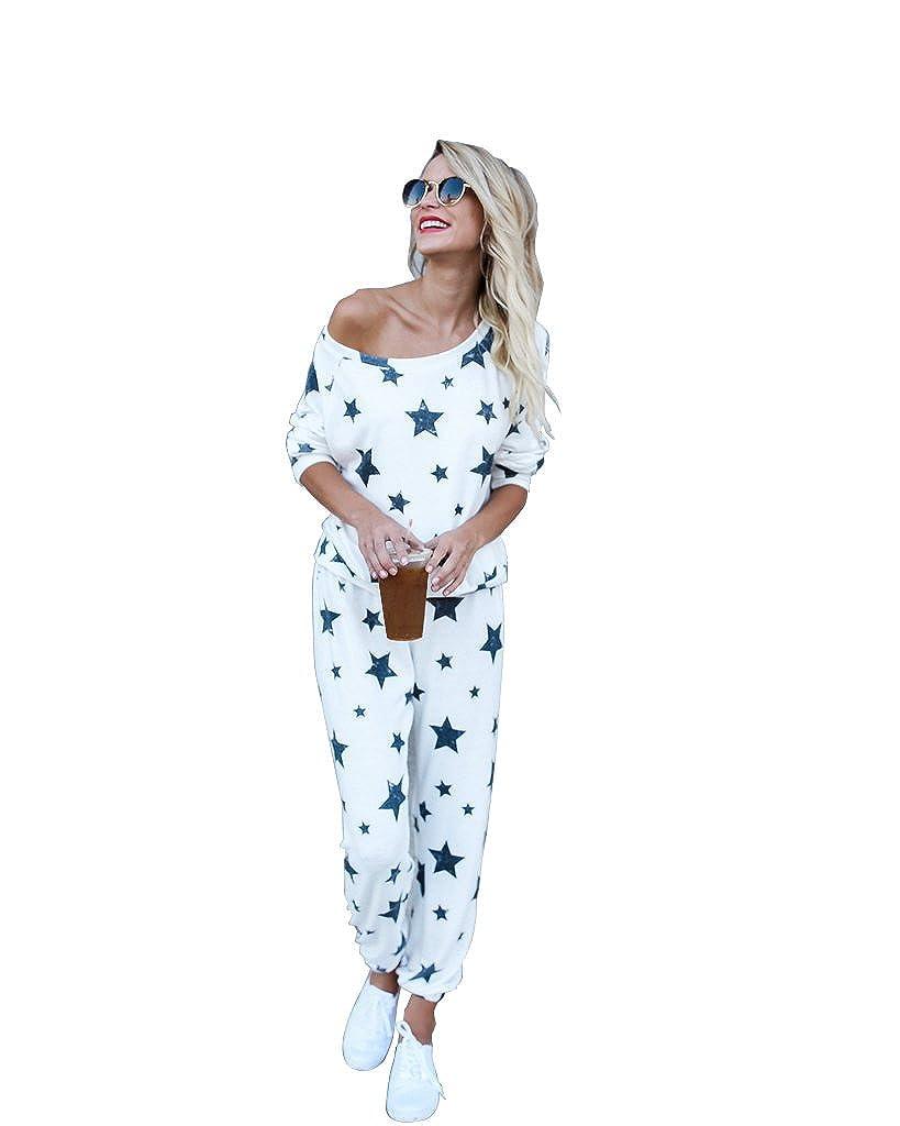 Mycherish Women Two Pieces Set Cotton Star Pattern Pajamas