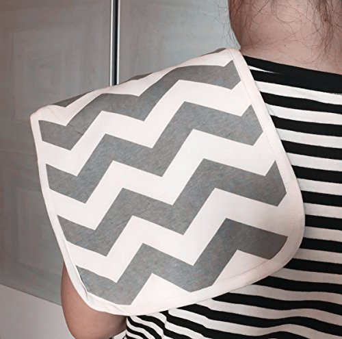 "Burp Cloths 20"" by 10"" 2 Layers Cotton Plus 1 Layer Absorbent fleece Grey Wave Black Stripes Arrows 4 Pack by Arnzion (Image #5)"