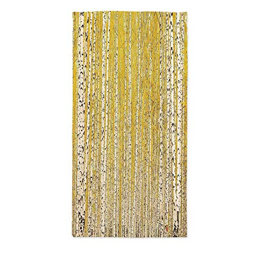 Landscape Fashionable Tablecloth,Autumn Season in Birch Forest Golden Leaves Seasonal Scenics Picture for Secretaire Square Table Office Table,60''W X 120''L