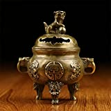 DW&HX Fine Copper Antique Incense Burner Plutus Feng Shui Aroma Stove-F