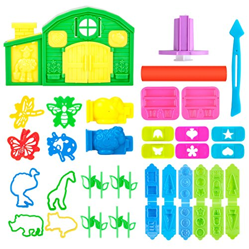 Pandapia 35 PCS Play Dough Tools Set with Molds Extruder,inculding 3D Flower, Trees, Animals Models and House