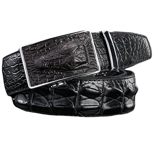 Ayli Men's Genuine Leather Ratchet Belt, Alligator Embossed Black, Fits All Pant Sizes Below 44