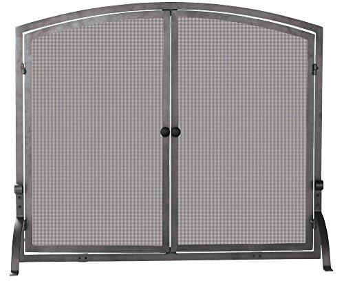 Uniflame Single Panel Olde World Iron Screen with Doors, - Log Steel Brushed Basket