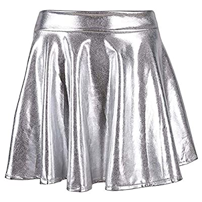 MCCKLE Women's Glossy Liquid Shiny Metallic Mini Skirt Retro Disco Pleated Flared Skater Skirts