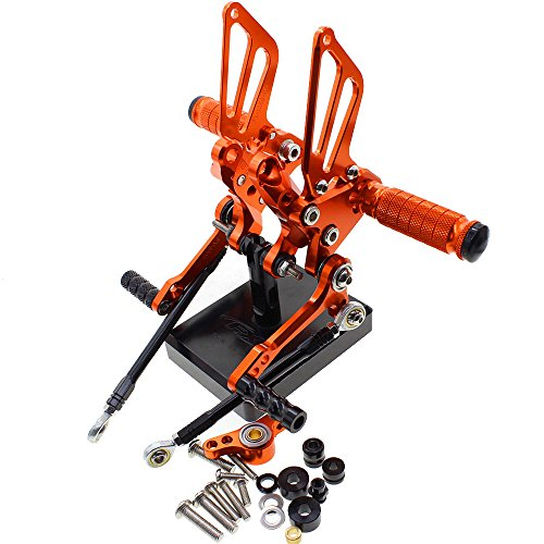 - color tree Motorcycle Rearsets Rear Foot Pegs CNC Rear set Footrests Fully Adjustable Rear Foot Boards Fit for DUCATI 1198/S/R/1098 R Bayliss LE/R/S Tricolore/848/EVO Orange
