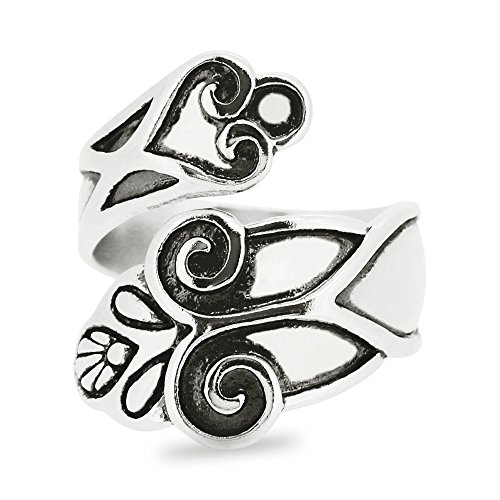 Silver-Wear Swirls Sterling Silver Antique Finish Floral Design Motif Spoon Ring (Oxidized Floral Design Ring)