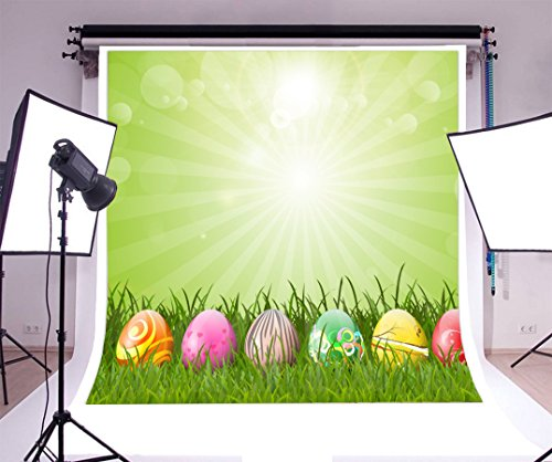 Laeacco 6x6ft Vinyl Photography Backdrop Happy Easter Colorful Eggs Sun Green Grass Field Bokeh Dots Scene Photo Background Children Baby Adults Portraits (Field Grass Light Green)