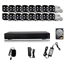 KORANG 1080P AHD 16Channel Waterproof Surveillance System With 2TB Pre-installed HDD 2.0 Megapixel Outdoor Infrared DVR HD Analog Bullet Camera Kit