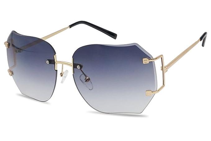 014f31787d Oversized 70s Classic Large Rimless Laser Cut Transparent Colored Lens  Sunglasses Women s Frameless Clear Lenses Eyewear