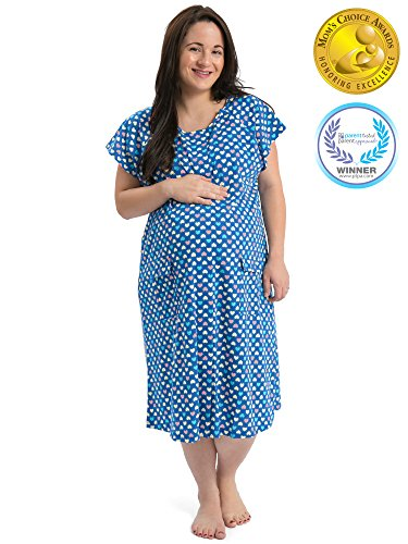Kindred Bravely The Bravely Labor and Delivery Gown - The Perfect Baby Shower Gift for Maternity/Hospital/Nursing (Blue Polka Dots, S/M/L)