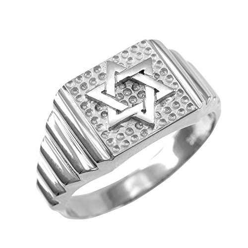 Solid 10k White Gold Jewish Star of David for Men, Size 11