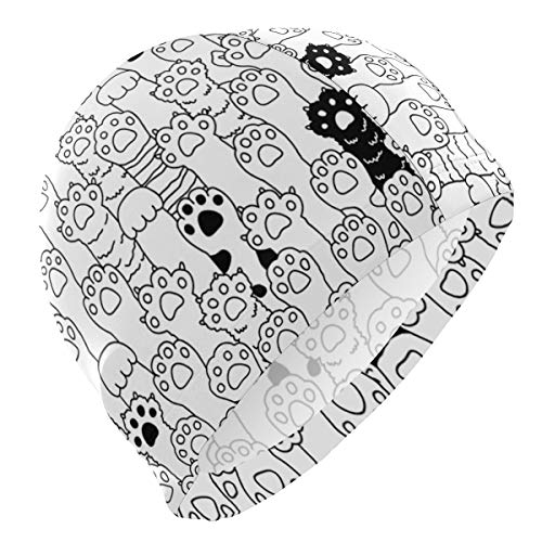 ATZUCL Swim Cap Bathing Cap for Men Boys Unisex Black and White Clipart Cat Paws Swimming Hat