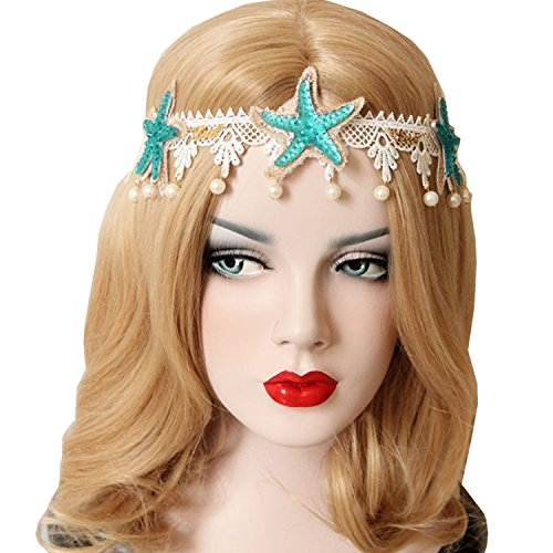 Kexuan Womens Girls Fashion Starfish Flower and Shell Style Hairbands for Sandbeach Holiday and Photography (Pearl)