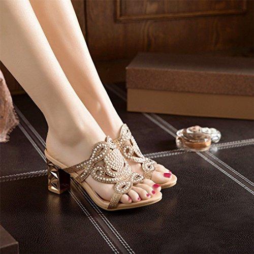 Strass Alto AIKAKA Golden Alto e con Donna Primavera Tacco da Scarpe sandali Estate Tacco 7prnwO7vq