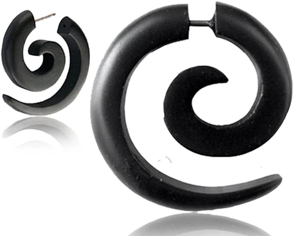 Earth Accessories Spiral Fake Gauges for Women or Men - Faux Gauge Earrings with Organic Wood and Surgical Steel - Fake Plugs Sold as a Pair in Black or Brown