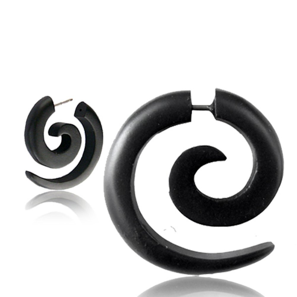 Earth Accessories Fake Gauge Spiral Earrings with Organic Wood and Surgical Steel - Sold as a Pair by Earth Accessories