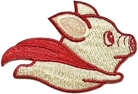 4 PCS Fly Pig Dog Iron On Patches Embroidered Appliques DIY Decoration or Repair,Sew On Patches for Clothing Backpacks Bookbag Jeans T-Shirt Caps Shoes