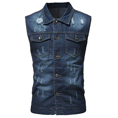 T Shirt Mens GREFER Personality Vintage Denim Jacket Waistcoat Blouse Vest Top