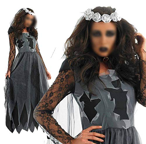 2018 Halloween Party Role Play Hell Ghost Bride Dress Make-up Dance Show Costumes Sexy Clothing,Black,One Size