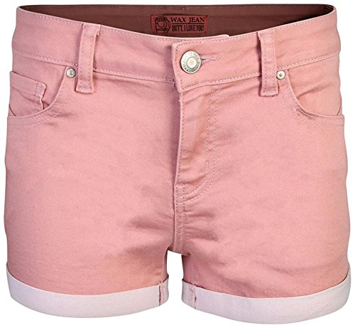 - Wax Women\'s Juniors Perfect Fit Mid-Rise Denim Shorts (Medium, Mauve)'
